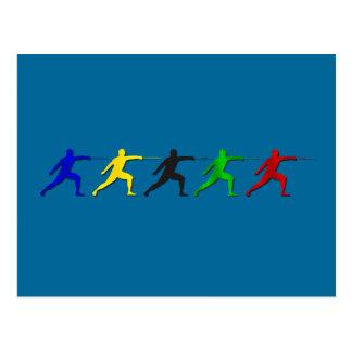 Epee-Fechter, die der Athleten-der Frauen der Postkarte