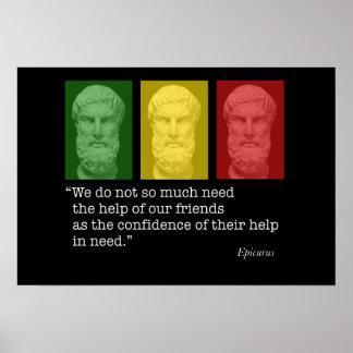 Epicurus und Freundschaft Poster