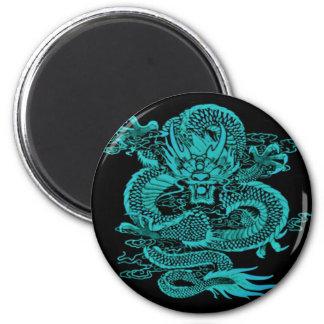 Epischer Drache aquamarin Runder Magnet 5,7 Cm