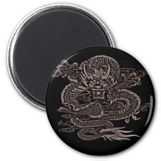 Episches Drache-Grau Runder Magnet 5,1 Cm