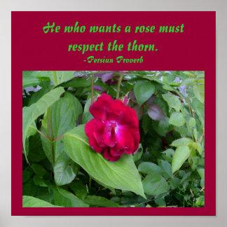 Er, der eine Rose will, muss… Plakat respektieren