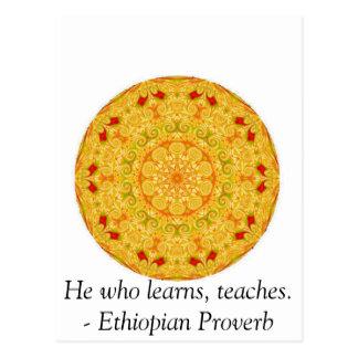 Er, der lernt, unterrichtet. - Äthiopisches Postkarte