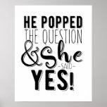 Er knallte das Fragen-Verlobungs-Brautparty Poster