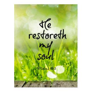 Er restoreth mein Soul-Bibel-VersScripture Postkarten