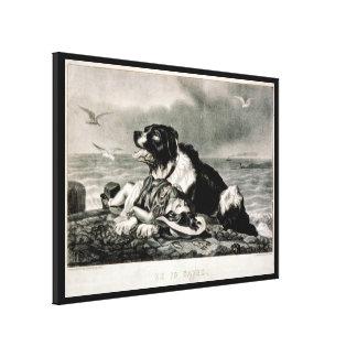 Er wird durch Currier und Ives Rettungs-Hund geret Gespannte Galeriedrucke