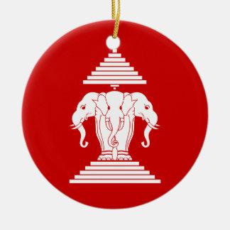 Erawan drei ging ElefantLao/Laos-Flagge voran Rundes Keramik Ornament