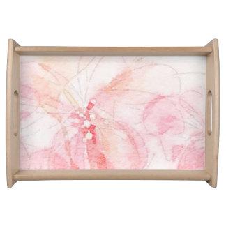 Erblassen Sie - rosa Aquarell-Blumenbehälter Tablett