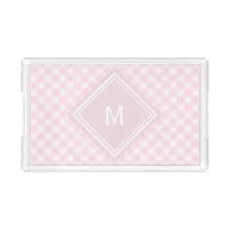 Erblassen Sie - rosa Gingham mit Diamant-Monogramm Acryl Tablett
