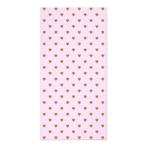 Erblassen Sie - rosa und braunes Herzmuster Individuelle Photo Karten