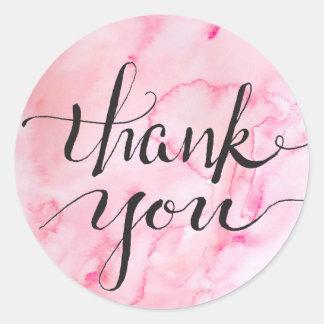 Erblassen Sie - rosa Watercolored Dankbarkeit Runder Aufkleber