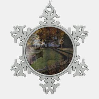 Erbparkeisenbahn Kanadas Alberta Calgary Schneeflocken Zinn-Ornament