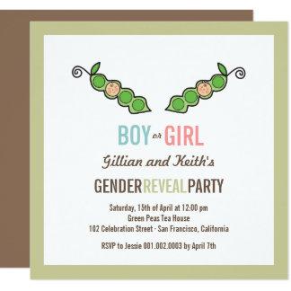 Erbse im Hülsen-Geschlecht decken Babyparty Quadratische 13,3 Cm Einladungskarte