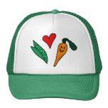 Erbsen-Liebe-Karotten, niedlicher grüner und orang Truckerkappen