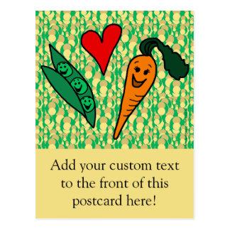 Erbsen-Liebe-Karotten, niedlicher grüner und Postkarte