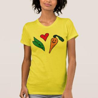 Erbsen-Liebe-Karotten, niedlicher grüner und T-Shirt