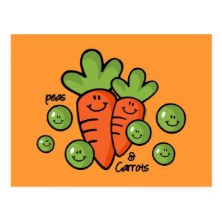 Erbsen und Karotten Postkarte