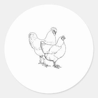 Erbzucht-Hühner - Hahn und Henne Runder Aufkleber