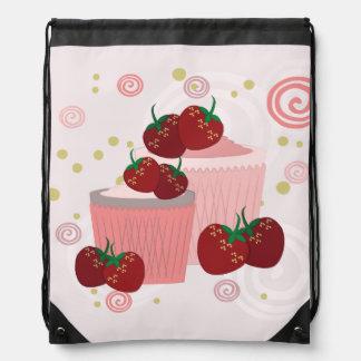 Erdbeer-und Kuchen-Kunst Turnbeutel