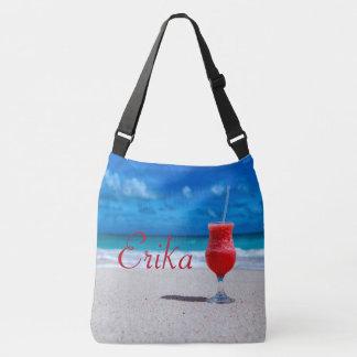 Erdbeerdaiquiri-karibischer Strand personalisiert Tragetaschen Mit Langen Trägern