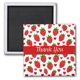 Erdbeere danken Ihnen Magneten Quadratischer Magnet