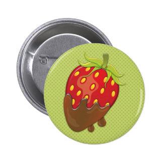 Erdbeere eingetaucht in Schokolade Runder Button 5,7 Cm