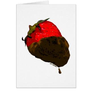 Erdbeere mit Schokolade überzogen Grußkarte
