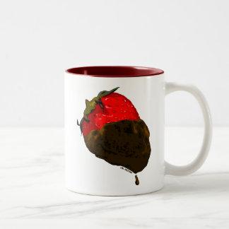 Erdbeere mit Schokolade überzogen Zweifarbige Tasse