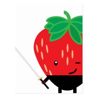 Erdbeere-Ninja Postkarte