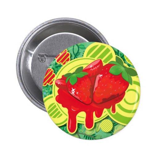 Erdbeere u. Blumen - Knopf Button