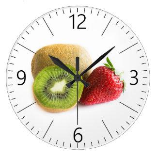 Erdbeere und Kiwi Große Wanduhr