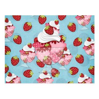 Erdbeereiscremebecher Postkarte
