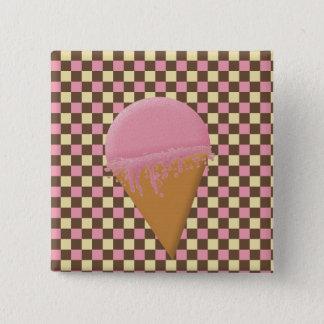 ErdbeerEistüte-Knöpfe Quadratischer Button 5,1 Cm