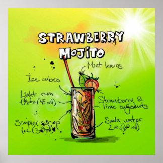 ErdbeereMojito Cocktail-Plakat Poster