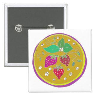 Erdbeeren des Goldes Quadratischer Button 5,1 Cm