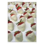 Erdbeeren eingetaucht in weiße Schokolade Grußkarten