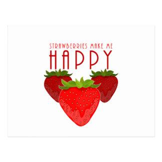 Erdbeeren machen mich glücklich postkarten