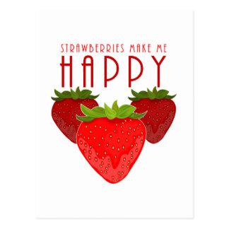 Erdbeeren machen mich glücklich postkarte