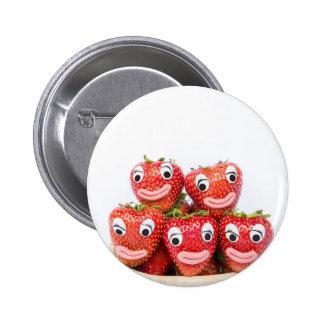 Erdbeeren mit Augen und Mund Runder Button 5,7 Cm