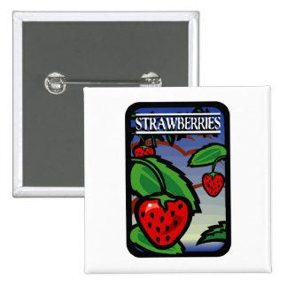 Erdbeeren Quadratischer Button 5,1 Cm