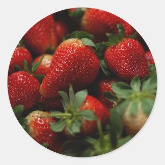 Erdbeeren Runder Aufkleber