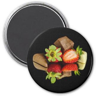 Erdbeeren und Schokoladen-runder Magnet Runder Magnet 7,6 Cm