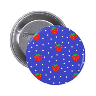 Erdbeeren und Tupfen dunkelblau Anstecknadel