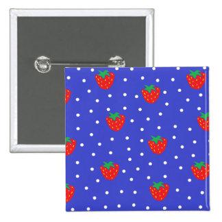 Erdbeeren und Tupfen dunkelblau Buttons