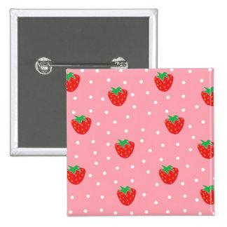 Erdbeeren und Tupfen-Rosa Quadratischer Button 5,1 Cm