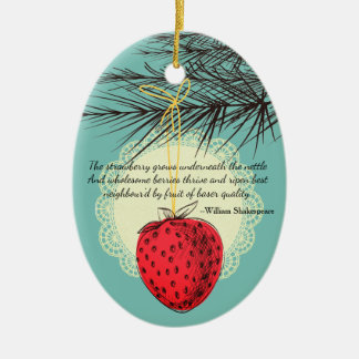Erdbeerfrucht kulinarische Weihnachtsverzierung Keramik Ornament