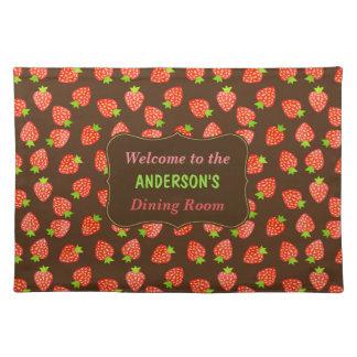 Erdbeerfrucht-Muster-hübscher Brown-individueller Tischset