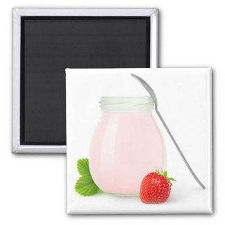 Erdbeerjoghurt Quadratischer Magnet