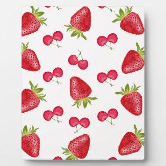 Erdbeerkirschfiesta-Muster Fotoplatte