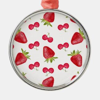 Erdbeerkirschfiesta-Muster Silbernes Ornament