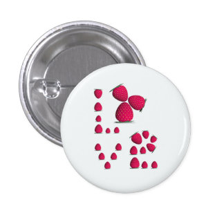 ErdbeerLiebe-Mädchen Runder Button 2,5 Cm